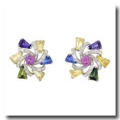 Inv. #16827  Oscar Heyman Sapphire and Diamond Earrings Platinum USA. Lawrence Jeffrey Estate Jewelers
