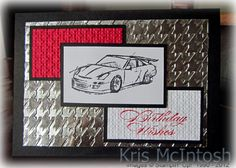 SU! Need for Speed stamp set; aluminum foil embossed with Houndstooth embossing folder - Kris McIntosh