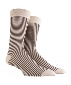 Men's Socks in Soft Cotton - Beige and Brown Mini Stripes - SockStyle.co.uk