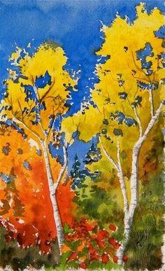 Watercolor fall Autumn landscape trees