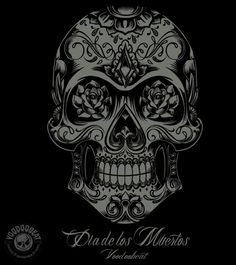 Skull tatoo in Mucha style