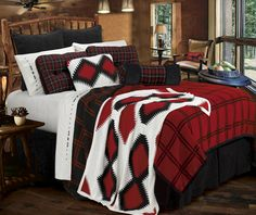 Aspen Plaid Cabin Bedding Coverlet Set & Pillows in Red, Black & White #rustic #robpalmwhistler #mountainhomes