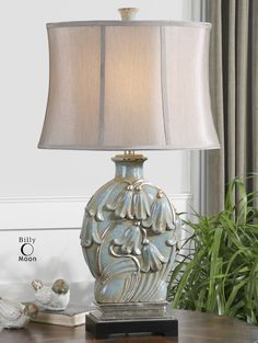 Uttermost Norrisia Light Blue Table Lamp Love the shade and the softness of the lamp. Perfect living room lamp for my home.