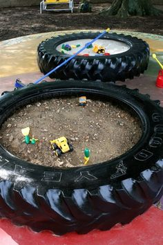 Sand pits in giant tires