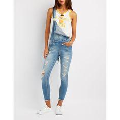 Refuge Destroyed Denim Overalls ($25) ❤ liked on Polyvore featuring jumpsuits, indigo, bib overalls, zipper jumpsuit, skinny overalls, skinny jumpsuit and short bib overalls