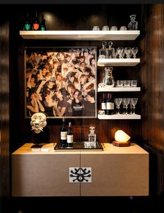 Nice way to make the bar area feel more contemporary Kips Bay Showhouse 2013