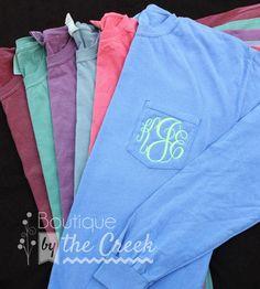 Comfort Colors Brand Monogrammed Long Sleeve Pocket Tee