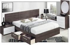 Cómo decorar un dormitorio de matrimonio pequeño - Bedroom Sets, Home Bedroom, Modern Bedroom, Bedroom Decor, Brown Furniture, Bed Furniture, Furniture Design, Bed Frame With Drawers, Smart Bed