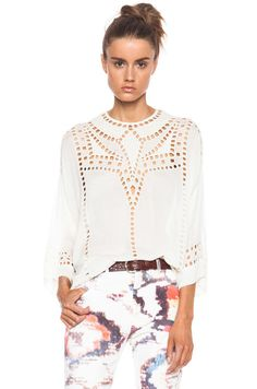 Isabel Marant Etoile SZ 40/US 8 Ivory White ETHAN Eyelet Crepe Top Shirt Tunic  #IsabelMarant #ButtonDownShirt #Career
