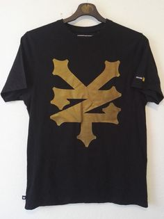 Zoo York Mens Empire T Shirt Black and Gold Large Logo Print YZN Size M