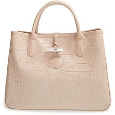 Longchamp 'Small Roseau Croco' Shoulder Tote ($450) ❤ liked on Polyvore featuring bags, handbags, tote bags, powder pink, leather handbags, pink leather handbag, pink leather tote, structured tote and structured leather tote