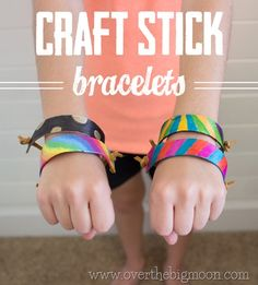 Craft Stick Bracelets - such a fun and easy craft to do with the kiddos!  Make them for all seasons by just changing marker colors and/or duck tape!