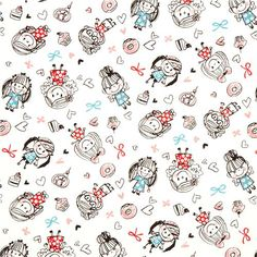 cute fabric with girls cupcakes donuts by Kokka