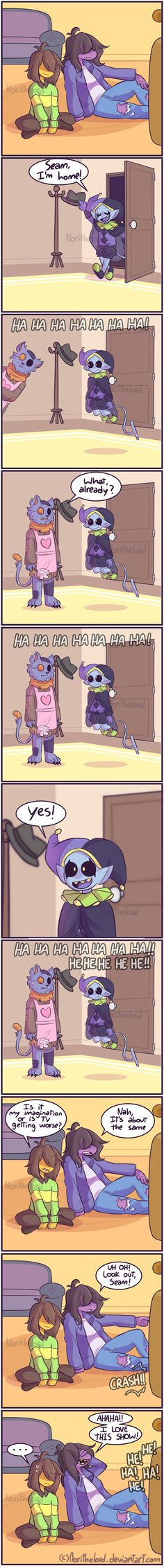 The Jevil and Seam show! - comic (Parody) by NoriTheLord Undertale Fanart, Undertale Comic, Pokemon, Chara, Toby Fox, Cartoon Games, Gaming Memes, Indie Games, Guardians Of The Galaxy
