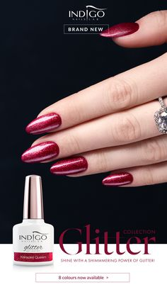 Ideas Nails Red Sparkle Colour For 2019 Silver Nails, Dark Nails, White Nails, Red Nails, Glitter Nails, Black Nail Designs, Winter Nail Designs, Cool Nail Designs, Burgundy Nails