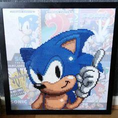 Framed Sonic perler beads (50x50cm) by Sprite Planet