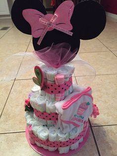 Minnie Mouse diaper cake for baby shower