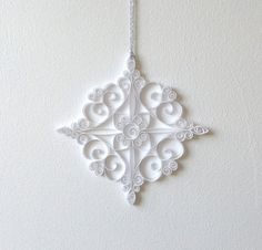 White Paper Snowflake 5.5in Paper Quilled Snowflake by ElinaQuills