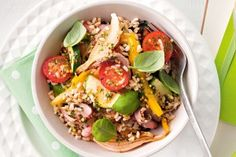 Brown rice and vegetable salad with basil dressing