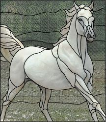 stained glass white horse design pattern