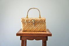 Vintage Woven Box Bag  1950s Basket Purse by Sunnywood Vintage, $32.00