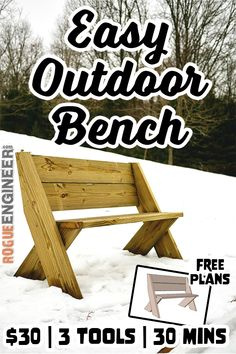 What You'll Want To Hunt For In A Very Do-it-yourself Dwelling Energy Audit Diy Outdoor Bench In 30 Mins W Only 3 Tools Plans By Rogue Engineer. Woodworking Bench Plans, Easy Woodworking Projects, Diy Pallet Projects, Woodworking Tools, Pallet Diy Easy, Diy Backyard Projects, Diy Outdoor Wood Projects, Woodworking Fasteners, Woodworking Machinery