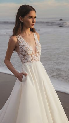 The Connor Gown Ballgown Beauty! The Connor Gown by Jenny by Jenny Yoo features a plunging V neck th Western Wedding Dresses, Elegant Wedding Gowns, White Wedding Dresses, Bridal Dresses, 1920s Wedding, Wedding Car, Wedding Outfits, Floral Wedding, Wedding Colors