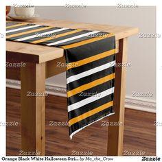 Orange Black White Halloween Stripes Short Table Runner