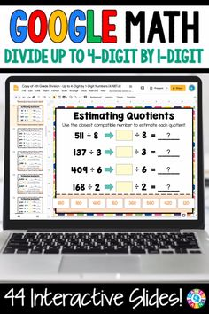 """LOVE THE VARIETY OF SLIDES!"" With this 4th Grade Division: Divide Using Area Models, Partial Quotients, and Long Division {4.NBT.6} digital resource for Google Slides, your students will divide up to four-digit dividends and one-digit divisors using area models, partial quotients, and long division. Multiplication And Division Practice, Division Math Games, Long Multiplication Worksheets, Google Classroom, Math Classroom, Math Math, Long Division, Partial Quotient Division, Partial Quotients"