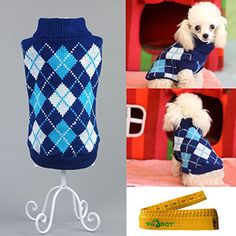 Gentle Knitted Turtleneck Chic Argyle Pet Sweater Knitwear for Dogs  Cats Dark Blue S >>> Check out this great product.
