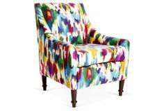 Holmes Linen Armchair, Pink/Multi, $579 (STICKER-SHOCK DESPAIR)
