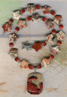 Sideways  Carved Red River Jasper Crab Pendant  by ChicStatements