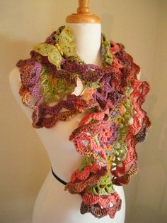 spring crafts: colorful scraves, free crochet patterns | make handmade, crochet, craft --- (directions at bottom of page)