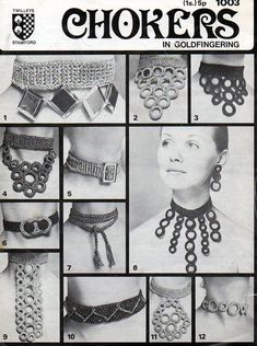 1970s Crochet Jewelry Jewellery Chokers Necklace 12 designs Vintage Pattern pdf file 1003      From tinpotlil