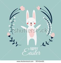 a cute funny bunny happy about spring;  Happy Easter poster or card with a rabbit in floral wreath or frame; flower  background; vector flat cartoon illustration