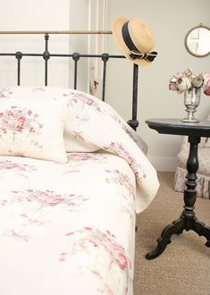 Isobella is an extremely pretty floral design. Can go from bedroom to drawing room depending on how you choose to dress it. Cottage Living, Cottage Style, Cottage Bedrooms, Kate Forman, White Cottage, Hampshire, Decoration, Bed Frame, Shabby Chic