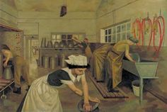2) Evelyn Dunbar Women's Land Army Dairy Training 1940   IWM London    According to Evelyn's biographer Dr Gill Clarke, by September 1943 a quarter of the 80,000-strong Women's Land Army (WLA) were involved in milking. We've seen something of  the training that Land Girls underwent ... in Evelyn's Milking Practice with Artificial Udders. Women's Land Army Dairy Training is the pair to it, and has the same setting, the dairy wash house.  Text © Christopher Campbell-Howes 2012. All rights…