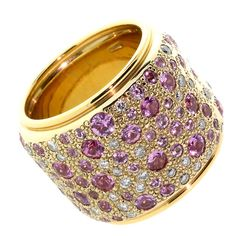 Pomellato Sabbia Pink Sapphire Diamond Gold Ring | From a unique collection of vintage cocktail rings at https://www.1stdibs.com/jewelry/rings/cocktail-rings/