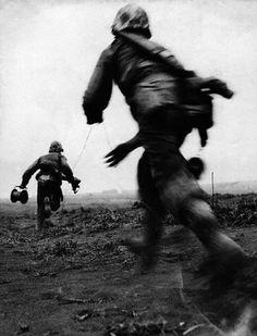 marines running phone lines on iwo jima •