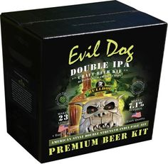 Bulldog Evil Dog (ABV 7.5%) 40 pint Double IPA kit.  A characteristic IPA flavour and a potent bitterness to counterbalance the strength, with notes of pine, earthiness and citrus. Call 01606 359 137 for more information