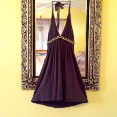 SKY- Boutique Halter Mini Dress Beautiful deep brown cotton mini with real chain and leather below bust detail. The chain is gold plated and quite hefty. Braided halter straps. Sky Dresses Mini