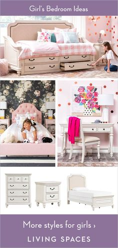 Design your child's dream space - kids bedroom styles they are sure to love. Beds, dressers, desks, accessories & more in a wide range of designs to suit any teen's unique style. Baby Bedroom, Girls Bedroom, Bedroom Decor, Bedroom Ideas, Kid Spaces, Space Kids, Big Girl Bedrooms, Bedroom Styles, Dream Decor