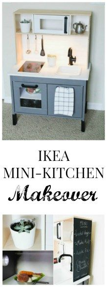 Ikea mini-kitchen makeover for kids on a budget with easy steps. Ikea Hack: DIY Ikea Duktig Facelift with easy DIY steps #ikeahack