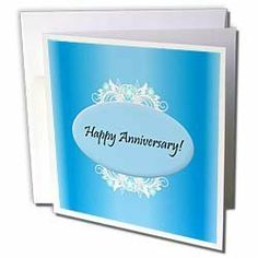 """Edmond Hogge Jr Anniversarys - Blue Happy Anniversary - Greeting Cards-6 Greeting Cards with envelopes by Edmond Hogge Jr. $10.49. Blue Happy Anniversary Greeting Card is a great way to say """"thank you"""" or to acknowledge any occasion. These blank cards are made of heavy duty card stock with a gloss exterior and a matte interior for smudge free writing. Cards are creased for easy folding and come with white envelopes. Available in sets of 6 and 12."""
