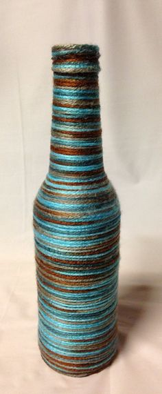 Yarn Wrapped Beer Bottle Vase. Recycled by RandomCraftsBySundee, $7.00