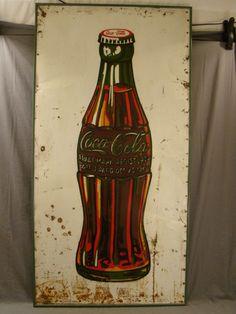 LG Antique Retro Tin Coca Cola Coke Bottle Folk Art Advertising Sign Painting | eBay