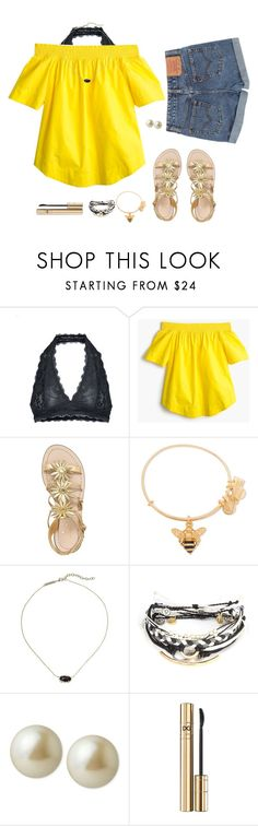 """""""Mellow Yellow"""" by avazumpano ❤ liked on Polyvore featuring Free People, J.Crew, Levi's, Kate Spade, Alex and Ani, Kendra Scott, Pura Vida, Carolee and D&G"""