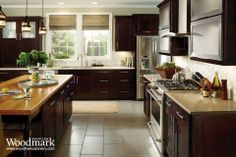 Reading Maple Espresso Kitchen. American woodmark cabinets. Kitchens. Made in the USA. Kitchen cabinets