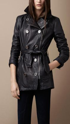 Burberry Brit | Short Leather Trench Coat in Blue