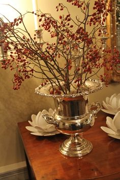 silver with red berries